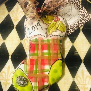 ClaybiZ by jeannie Holiday - Whimsical ClayArt handmade Plaid Stocking Ornament
